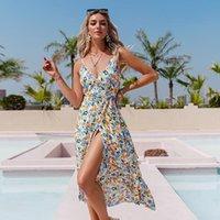 Повседневные платья Simplee Праздничные Летние Цветочные Распечатать Платье Платье Bow Sash V-образным вырезом Без Рукавов Асимметричные Женщины Сексуальный пляж Chic 2021