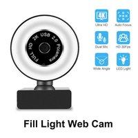 4 K / 8K1080P / 2160 P Webcam Otomatik Odak Web Kamera Mikrofon ile Canlı Yayın Video Arama Konferansı Doldurun Işık Cam Webcam