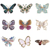 Cutout Crystal Fashion Metal Färgglada Rhinestones Butterfly Broscher Animal Pins Bankett Bröllop Bouquet Brooc