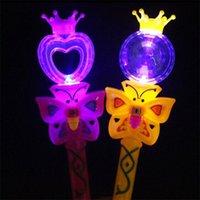 Toptan-Yenilik çocuklar ışık yanıp sönen prenses peri sihirli değnek sopa kızlar parti favor tezahürat malzemeleri KKB7006