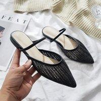Dokuma Toe Kap Hollow Düz Sandalet Kadın Kore Versiyonu Sivri Yabani Yarım Terlik Muller Ayakkabı