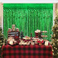 Party Decoration St. Patrick's Day Birthday Wedding Backdrop Curtains Glitter Glossy Tinsel Foil Wall Drapes Po Zone Backdro