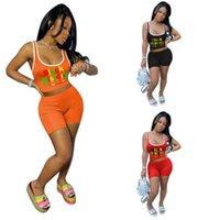 Letras de Moda de Verão das Mulheres Impresso Tracksuit Sem Mangas T-shirt + Shorts Two-Peça Conjunto de Esportes Senhoras Casuais Meninas Crop Tops Tees Roupas Roupas G699LS6