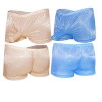 Underpants Men's Sexy Transparent Shiny Tight Low Waist Boxer Shorts Comfortable Closed Penis Sleeve Underwear Gay Jockstrap