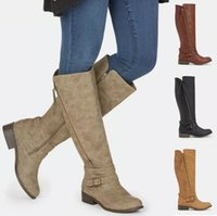 Boots Women Knee High Booties Shoes Woman Vintage Suede Autumn Warm Matin Shoe Chaussures Femme Zapatos Mujer Sapato K0105