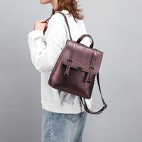 Backpack Crocodile Pattern Women Made Of Genuine Leather Large Capacity Travel Bag High Quality Schoolbag Knapsack Black