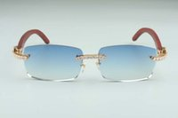 Elmas B-3524012-12 ve Kare Sınırsız Ahşap Gözlük, Moda Yeni erkek Parça Güneş Gözlüğü, Big Bayan Gözlük Sunglas Momk