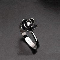 Est Vintage Silver Plated Rose Flower Rings For Women White CZ Stone Inlay Fashion Jewelry Engagement Wedding Party Gift Ring
