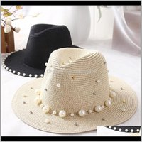 Wide Brim Hats Caps Hats, Scarves & Gloves Fashion Aessoriesseioum Summer British Pearl Beading Flat Brimmed St Shading Sun Hat Lady Jazz Be
