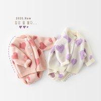 MILANCEL 2021 baby girl clothes knit clothing set heart bodysuit sweaters 2 pcs suit soft newborn 210427