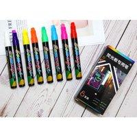 8 색 하이 라이터 형광 액체 분필 마커 네온 펜 LED 쓰기 보드 칠판 유리 그림 사무용품