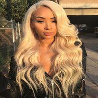 Human Hair Amazon blond half lace bady wave wig Peruvian tousle 16 18 20 22 24 26 inch 150% Density factory wholesale