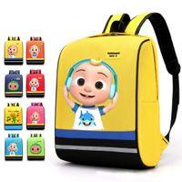 Cocomelon JJ 소년의 만화 인쇄 된 배낭 큰 크기 어린이 schoolbag lovely Kids 소년 소녀 유치원 어깨 가방 G506WC0