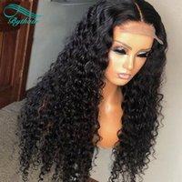 Bythair Curly Human Hair 13x6 HD Parrucche anteriori in pizzo trasparente con peli per bambini predisposti capelli neri naturali nero colore profondo onda deep nodi candeggiati