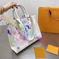2021 Colorido Impresso Grande Graffiti Totes De Couro Bolsas Imprimir Designer Mulheres Bolsas De Tote Bolsas Luxurys Designers Top Quality Hobos Classic Shopping Compras Bolsa