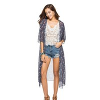 fashion woman blouses Casual Chiffon Dobby Flower Print Long Coat Suit Kimono Cover Beach Smock womnes and tops 210608