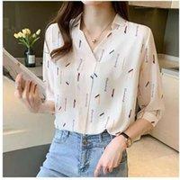 blouse summer Korean version commuting Chiffon letter printing design sense V-neck short sleeve shirt LIDQ