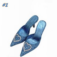 Designer women's pointed sequins spring and summer high-heeled formal shoes fashion 9.0 cm heel sexy dress Slippers Size 35-41 with box