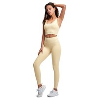 Ladies Tracksuits Eco Friendly Gym Athletic Wear High Waist Workout Leggings Sport Fitness Womens Clothing Ribbed Yoga Set