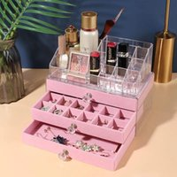 Jewelry Pouches, Bags Fashion Pink Acrylic Organizers Velvet Earrings Ring Display Stand Dustproof Storage Box Drawer Necklace Bracelet Case