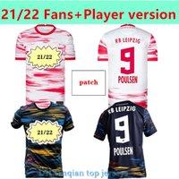 21 22 Fan Player Versão Leipziges Futebol Jersey Home Vermelho Azul Szoboszlai Hee-Chan Rbl Football Jerseys Konate Sabitzer Kluivert Poulsen Halstenberg Homens + Crianças
