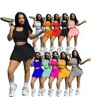 XS-2XL Jogger Takım Elbise Yaz Eşofman Kadın Tenis Elbise Setleri Iki Parçalı Set Kazak Tank Üst + Şort Etek 2 adet Katı Spor Rahat Siyah Kıyafetler 4996
