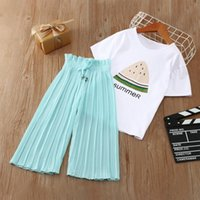 Clothing Sets Kids Girls 2021 Summer Clothes Watermelow T Shirt Chiffon Pants Outfit Tracksuit Suit Children