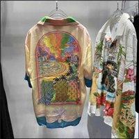 Outlet 21SS Casablanca Moda Sycylijska Fantasy Island Print Koszula z krótkim rękawem Summer Fairy Tale Sen Silk Koszula