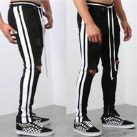 Erkek Yüksek Sokak Boyalı Yıkılan Kot Pantolon Delikli Yırtık Kot Pantolon Slim Fit Sıkıntılı Kot Streetwear