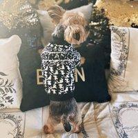 Собака одежда мода дизайнер свитер для маленьких средних собак письмо печати вышивка шнауцер свитера классическая мягкая теплая осень зима домашняя одежда