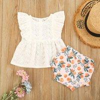 Pudcoco Doğan Bebek Kız Giysileri İki Parçalı Set, Beyaz Katı Renk Kollu Yuvarlak Yaka Tops ve Şort Giyim Setleri