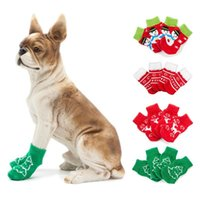 Dog Apparel Pet Christmas Socks Small Doggy Shoes Non-skid Knitted Cotton For Dogs Cats Dressing Up Feet Cover 0