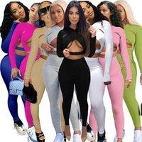 Kadın İki Parçalı Set Katı Renk Seksi Oymak Spor Takım Elbise Pembe Kıyafetler Tasarımcı Eşofman Giysileri Uzun Kollu Pantolon Gece Kulübü