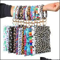 Pendants Arts, Crafts Gifts Home & Gardenleopard Bracelet Clutch Phone Wallet Rings Sunflower Keychain Pu Leather Key Holder Rainbow Color L