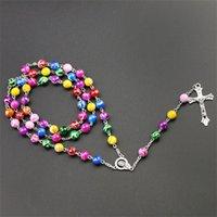 Nuovo Religioso Cattolico Rainbow Rosario Collane lunghe Gesù Cross Ciondolo 8mm Catene per perline per le donne Uomo Shi Fashion Christian Jerist 85 K2