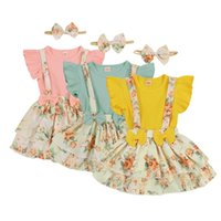 Clothing Sets 0-24M Summer Toddler Baby Girls Clothes Set 3Pcs Infant Solid Ribbed Cotton Bodysuit Tops Floral Skirt Headband Outfit