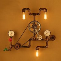 Vintage Wall Lamps Loft Industrial Wheel Water Pipe Light Retro Lighting Fixture For Restaurant Bar Dinning Room Lamp