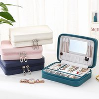 Gift Wrap PU Leather Simple Jewelry Box Earrings Portable Storage Stud Small Zipper