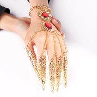 أزياء الهندي التايلاندية الذهبي الإصبع سوار ساطع الأحمر كريستال فتاة الرقص سوار مجوهرات