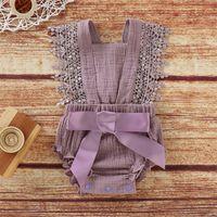 Baby Lace Romper Recém-nascido Slings Jumpsuits Kids Lace Lace Bow Romper Verão Cor Sólido Cor Correias Arnês Siling Siamese Suit 350 J2