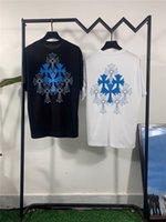 21 S Yaz Moda Crosin Donanması Çift Çapraz Baskı Rahat Ekip Boyun erkek ve kadın Kısa Kollu T-shirt TopXGSO