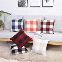 Fashion Retro Plaid Cushion Linen Home Pillowcase Cuscini Divano Copertura Abbracciare Le federali