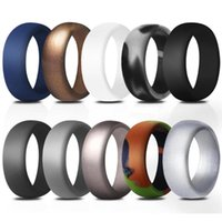 Wedding Rings BONISKISS 8.7mm Environmental Silicone Ring For Men Rubber Hypoallergenic 10 Colors set Engagement Jewelry