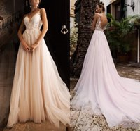 Soft Tulle A-line Wedding Dresses V-neck Backless Bridal Gowns Applique Lace Court Train Beach Bohemian Vestidos De Novia