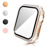 Glass Film Full Diamond PC Cases for Apple Watch Series 6 SE 5 4 3 Case Accessories Iwatch 40mm 44mm 38mm 42mm Screen Protector Bumper Cover