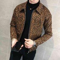 Men's Suits & Blazers Jaqueta bomber casual masculina, jaqueta folgada com estampa de leopardo e zíper para outono OK63