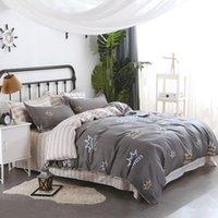 Conjuntos de ropa de cama Conjunto de cuatro piezas de algodón coronado Funda de almohada impresa Edredón Cubierta Casa de cama Reina tamaño rey