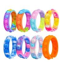 Empurre seus Pops Fidget Decompression Brinquedos Coloridos Pulseira Fotografia de Popper Bubble Bubble Fingertip Sensory Toy para Crianças Presentes