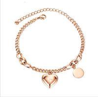 woman 18k gold pkated Simple joker love heart round piece titanium steel bracelet