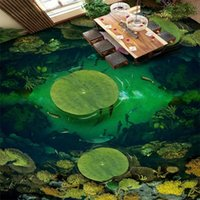 Wallpapers Custom 3D Mural Green Pond Fish Lotus Po Floor Sticker For Bathroom Living Room Hall PVC Waterproof Self-adhesive Matte Tiles